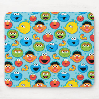 Sesame Street Faces Pattern on Blue Mouse Pad