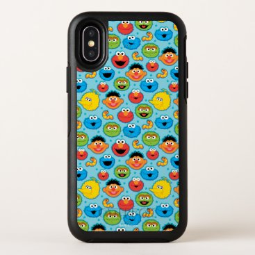 Sesame Street Faces Pattern on Blue OtterBox Symmetry iPhone X Case
