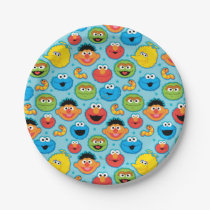 Sesame Street Faces Pattern on Blue Paper Plate