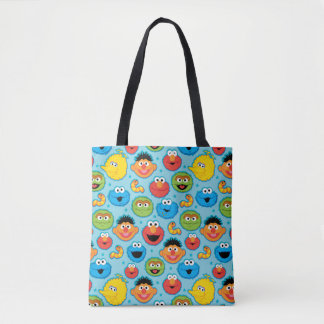 Sesame Street Faces Pattern on Blue Tote Bag