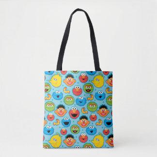 Sesame Street Faces Pattern on Blue Tote Bag