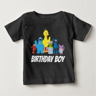 Sesame Street Pals | Birthday Boy - Name & Age Baby T-Shirt