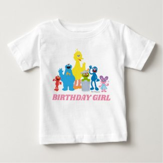 Sesame Street Pals | Birthday Girl - Name & Age Baby T-Shirt