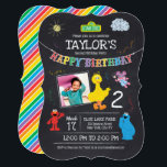 "Sesame Street Pals Chalkboard Photo Birthday Invitation<br><div class=""desc"">Sesame Street Pals Chalkboard Rainbow Birthday</div>"