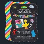 "Sesame Street Pals Chalkboard Photo Birthday Invitation<br><div class=""desc"">Sesame Street Pals Chalkboard Rainbow Birthday</div>"