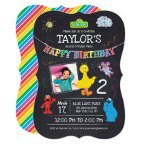 Sesame Street Pals Chalkboard Photo Birthday Invitation
