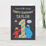 "Sesame Street Pals Chalkboard Rainbow 1st Birthday Card<br><div class=""desc"">Customize this super cute Sesame Street 1st Birthday card with your child's name.</div>"