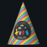"""Sesame Street Pals Chalkboard Rainbow 1st Birthday Party Hat<br><div class=""""desc"""">Customize this Sesame Street Pals Chalkboard Rainbow Birthday hat with your child&#39;s name and age.</div>"""