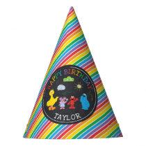 Sesame Street Pals Chalkboard Rainbow 1st Birthday Party Hat
