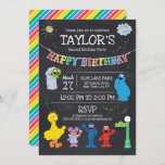 """Sesame Street Pals Chalkboard Rainbow 2nd Birthday Invitation<br><div class=""""desc"""">Celebrate your child's Second Birthday with these super cure Sesame Street chalkboard invitations. Personalize by adding all your party details! © 2021 Sesame Workshop. www.sesamestreet.org</div>"""