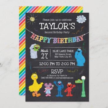 Sesame Street Pals Chalkboard Rainbow 2nd Birthday Invitation