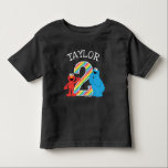 "Sesame Street Pals Chalkboard Rainbow 2nd Birthday Toddler T-shirt<br><div class=""desc"">Customize this super cute t-shirt design brought to you by Sesame Street. This is the perfect party t-shirt for the birthday boy or girl,  for kids of all ages.</div>"