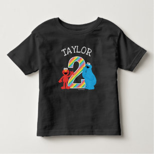 Sesame Street Pals Chalkboard Rainbow 2nd Birthday Toddler T Shirt