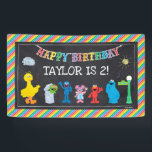 "Sesame Street Pals Chalkboard Rainbow Birthday Banner<br><div class=""desc"">Customize this Sesame Street Pals Chalkboard Rainbow Birthday banner with your child&#39;s name and age.</div>"