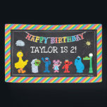 "Sesame Street Pals Chalkboard Rainbow Birthday Banner<br><div class=""desc"">Customize this Sesame Street Pals Chalkboard Rainbow Birthday banner with your child's name and age.</div>"