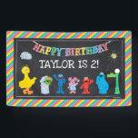 "Sesame Street Pals Chalkboard Rainbow Birthday Banner<br><div class=""desc"">Customize this Sesame Street Pals Chalkboard Rainbow Birthday banner with your child"