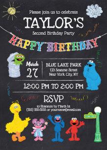 Birthday invitations zazzle sesame street pals chalkboard rainbow birthday invitation filmwisefo