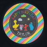 "Sesame Street Pals Chalkboard Rainbow Birthday Paper Plate<br><div class=""desc"">Customize this Sesame Street Pals Chalkboard Rainbow Birthday plate with your child&#39;s name.</div>"