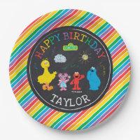 Sesame Street Pals Chalkboard Rainbow Birthday Paper Plate