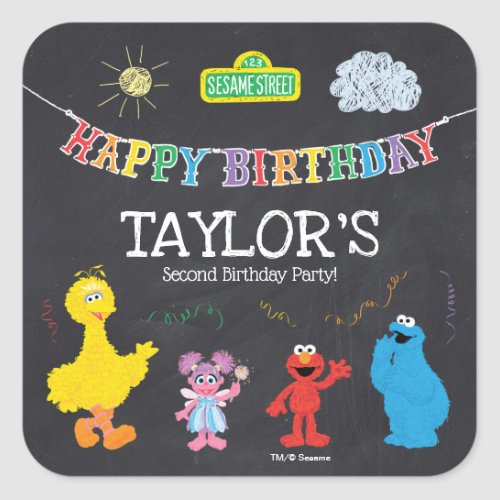 Sesame Street Pals Chalkboard Rainbow Birthday Square Sticker