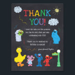 "Sesame Street Pals Chalkboard Rainbow Thank You Invitation<br><div class=""desc"">Thank all your family and friends for coming to your child&#39;s Sesame Street themed birthday with these colorful Thank You notes.</div>"