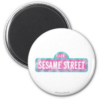 Sesame Street Pink Sign Logo 2 Inch Round Magnet