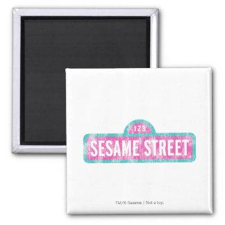 Sesame Street Pink Sign Logo Magnet