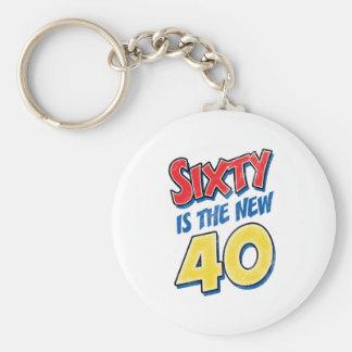 Sesenta es el nuevo cumpleaños 40 llavero redondo tipo pin
