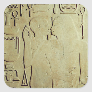 Sesostris I  being Embraced by the God Ptah Square Sticker