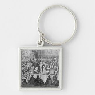 Session of Parliament presided by Regent Silver-Colored Square Keychain