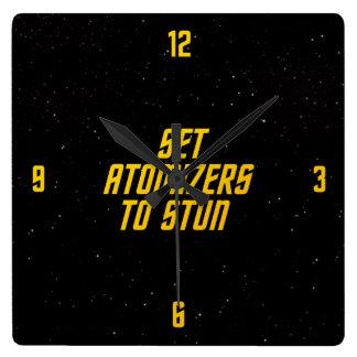 Set Atomizers to Stun Square Wall Clock
