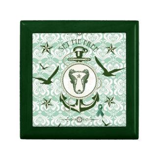 Set me Free green Nautical art for mental health Keepsake Boxes