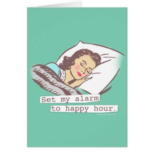 Alarm cards greeting photo cards zazzle set my alarm to happy hour birthday card bookmarktalkfo Choice Image