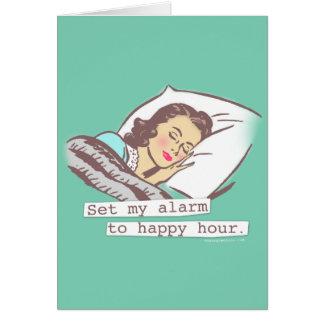 Set My Alarm to Happy Hour Birthday Card