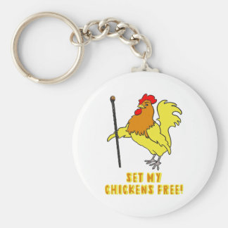 Set My Chickens Free -- Moses Rooster Keychain