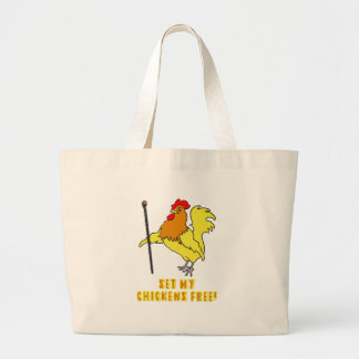 Set My Chickens Free -- Moses Rooster Large Tote Bag