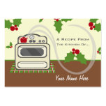 Set Of 100 Christmas Recipe Cards - Retro Kitchen Large Business Cards (Pack Of 100)