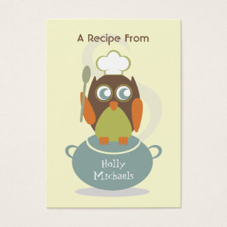 Set Of 100 Recipe Cards - Owl With Chef's Hat