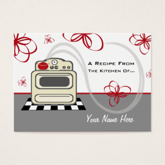 Set Of 100 Recipe Cards - Retro Stove Red Kitchen