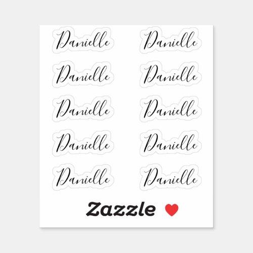 Set of 10 _ Elegant Signature Script Name Danielle Sticker