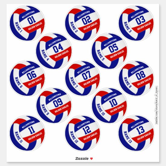 Set of 13 red white blue team colors volleyball sticker