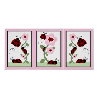 Set of 3 in 1 Ladybug & Flowers Print 5x7 each
