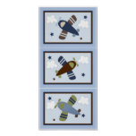 Set of 3 in 1 Zoom Along Airplane 5x7 prints Poster