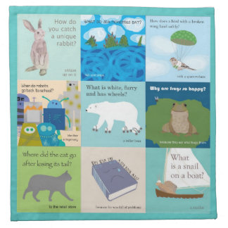 Set of 4 School Lunchbox Napkin Full of Jokes