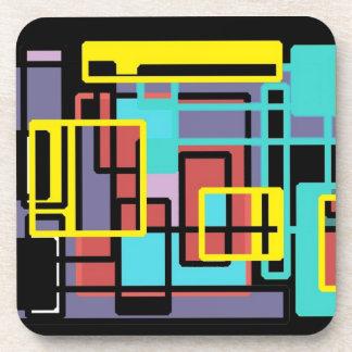 Set of 6 Coasters.  Custom Geometric Design.
