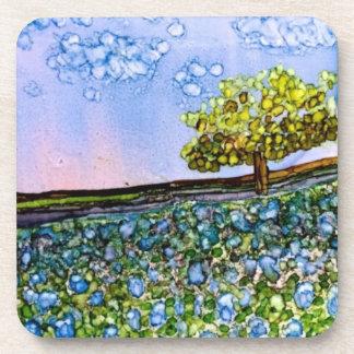 Set of 6 Coasters - Texas Bluebonnets Alcohol Ink