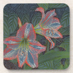 "SET OF 6  COASTERS,""TWO DAYLILIES"" BEVERAGE COASTER"