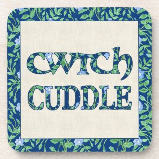 Set of 6 Cork Coasters with Welsh Cwtch and Cuddle