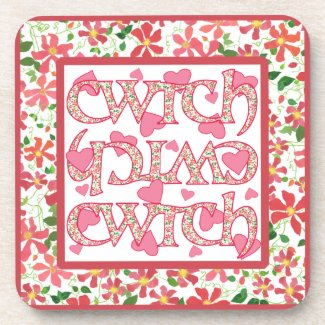 Set of 6 Cork Coasters with Welsh Cwtch and Hearts