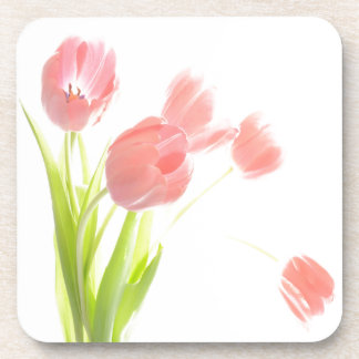 Set of 6 drink coasters Pink Tulip  flower Retro